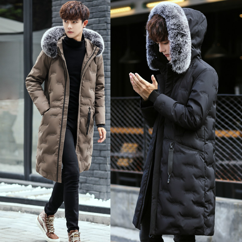 Yayu Mens Winter Fur Hooded Duck Down Thick Windproof Coat Jacket