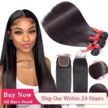 Перуанские пряди человеческих волос с застежкой прямые пряди с 4x4 кружевной застежкой Remy человеческие волосы для наращивания для черных же...