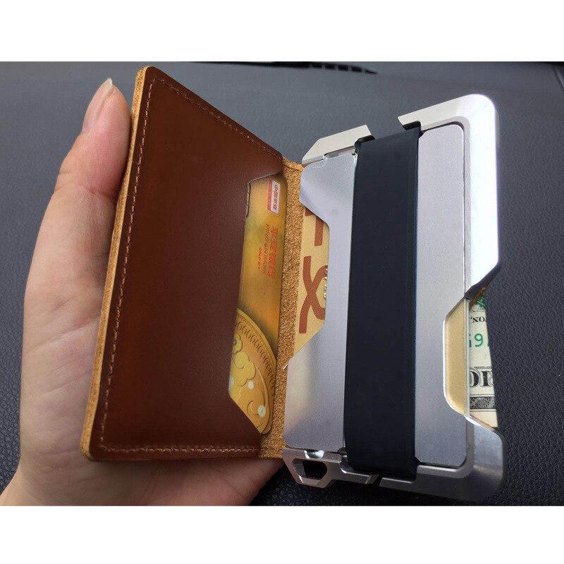BISI GORO RFID Blocking Card Wallet Genuine Leather Security Travel Passport Holder Vintage Pop-Up Aluminum ID Case Protector