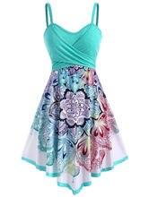 Wipalo-vestido bohemio de talla grande para mujer, vestido informal con flores cruzadas, sin mangas, tirantes finos, para vacaciones y playa