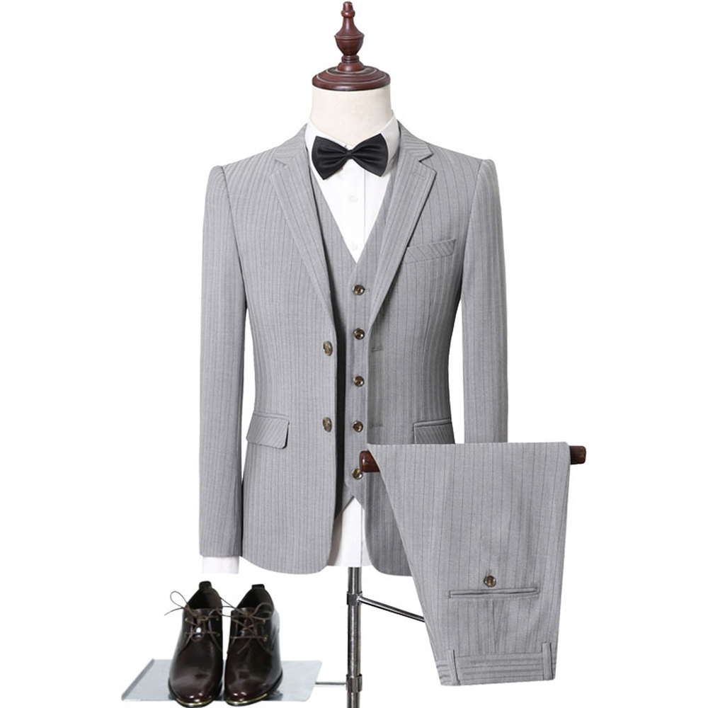 Plus Size 5XL Striped Men's Suits British Style Side Cuts Business Formal Casual Wedding Suit Dress Slim Fit Brand Clothing