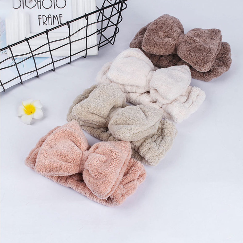 Women Make Up Face Washing Bowknot Coral Fleece Fashion Elastic Portable Wide Side Headband For Shower Party Sweat Absorbing