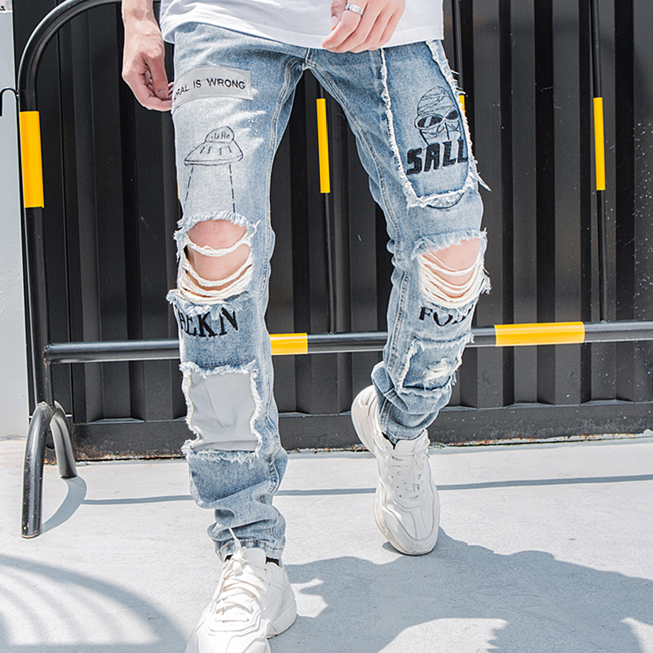 LACIBLE Reflective Men Hip Hop Jeans Skinny Ripped Vintage Biker Jogger Distressed Hole Baggy Denim Slim Fit Casual Pants