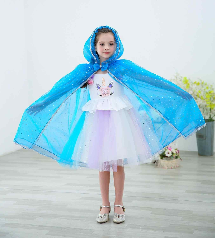 Verano otoño capa chicas lentejuelas capa de malla niños Cosplay traje princesa vestido de Elsa Belle Aurora Cenicienta Sofía ropa