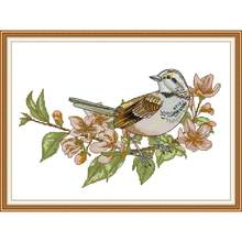 Joy Sunday Stamped Cross Stitch Kits Branch Bird Patterns 14CT 11CT Counted Fabric Embroidery Painting for Home Decoration Sets(China)