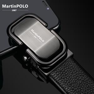 Image 2 - MartinPOLO 새로운 도착 남자의 가죽 벨트 럭셔리 자동 버클 벨트 남자 블랙 남자 벨트 정품 가죽 MP0301P