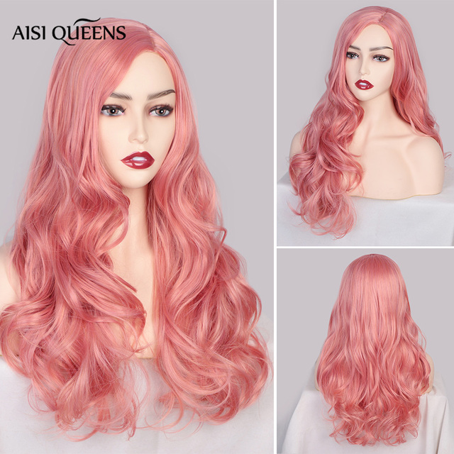 AISI QUEENS Synthetic Pink Wigs Long Wavy Wig for Women Black White Natural Free Parts Cosplay Hair Average Size