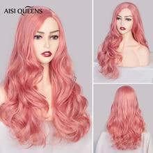 شعر مستعار وردي اصطناعي من AISI QUEENS باروكة طويلة مموجة للنساء أسود أبيض طبيعي أجزاء مجانية شعر كوسبلاي متوسط الحجم