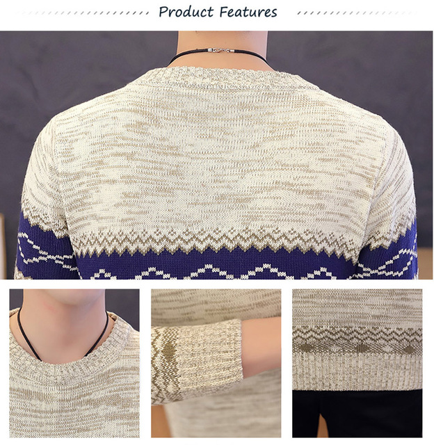 Мужской офисный трикотажный свитер 5