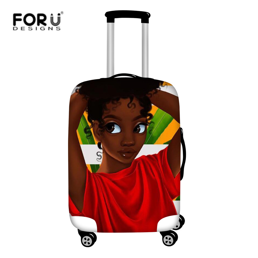 FORUDESIGNS Travel Accessories African Girls Black Afro Suitcase Protective Covers Elastic Luggage Cover For 18-32 Inch Cases