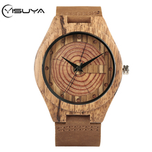 YISUYA Handmade Natural Retro Wooden Watches Table Double Wood