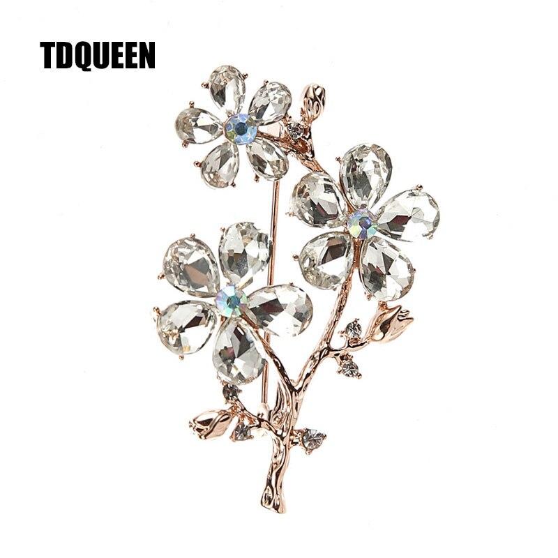 TDQUEEN kristal broş altın renk Metal pimler ve broş yüksek kaliteli büyük avusturyalı kristal broş kadınlar için