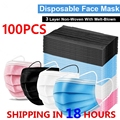 Рот маски 3-х слойные одноразовые Mascarillas50/100/200 шт нетканые изготовленный аэродинамическим способом по технологии тканевых масок эластичная ...