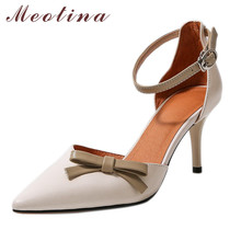 Meotina Bow Genuine Leather High Heel Sandals Ankle Strap Women Shoes Pointed Toe Thin Heels Footwear Lady Summer Sandals Beige