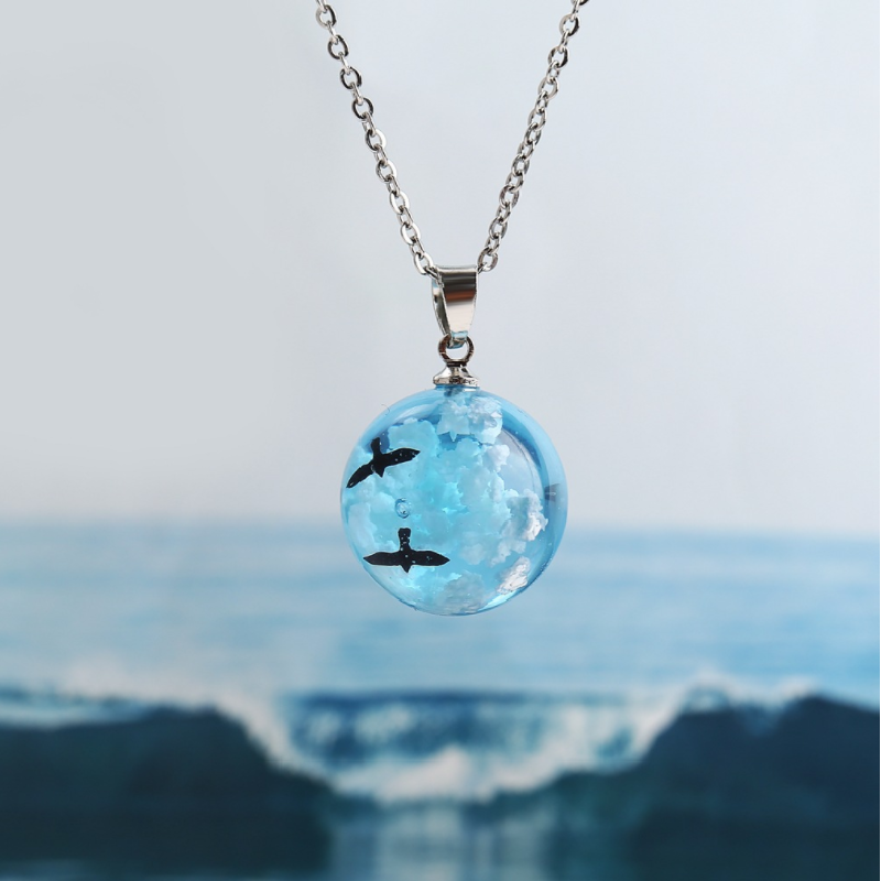 Glow in the Dark Resin Rould Ball Moon Pendant Necklace Women Blue Sky White Cloud Chain Necklace Fashion Jewelry Gifts For Girl