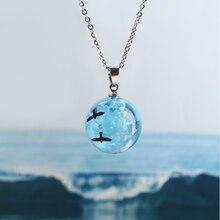 Ожерелье женское из смолы, подвеска в виде шара, Луны, синего неба, белого облака, Подарочная бижутерия для девушек