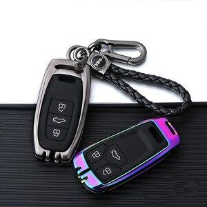 Image 2 - Verzinktem Legierung Auto Schlüssel Fall Für Audi A3 A4 A5 A6 B6 B7 B8 Q5 Q7 Fernbedienung Schutz Abdeckung schlüsselbund Tasche Auto Zubehör