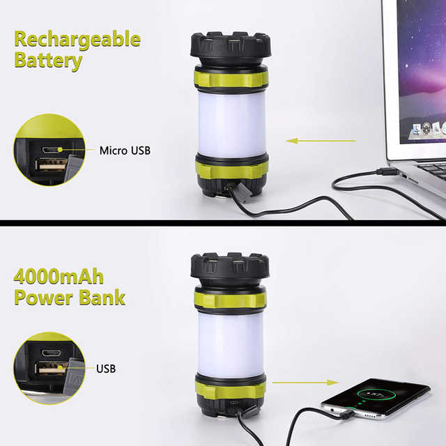 ZK20 Portable LED Camping Light Working Light Outdoor Tent Light   Handheld Flashlight USB Rechargeable Waterproof Search Light 3