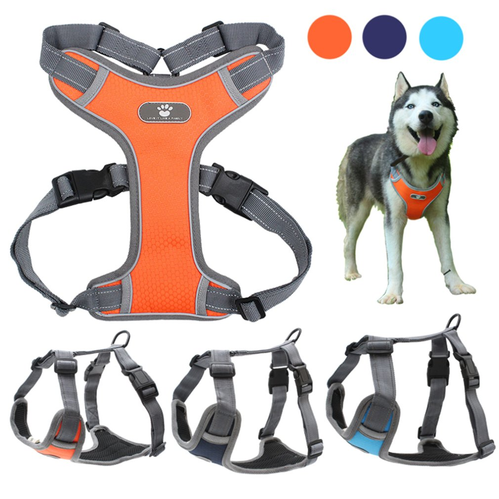 Dog Harness Vest Adjustable Reflective Breathable Mesh Orange