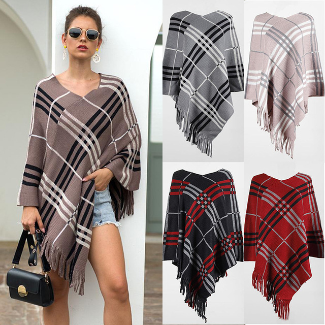 2020 Autumn Winter European American Fringed Shawl Cloak Diagonal Stripe Pullover V-neck Ladies Sweater Poncho Women's Clothing 1