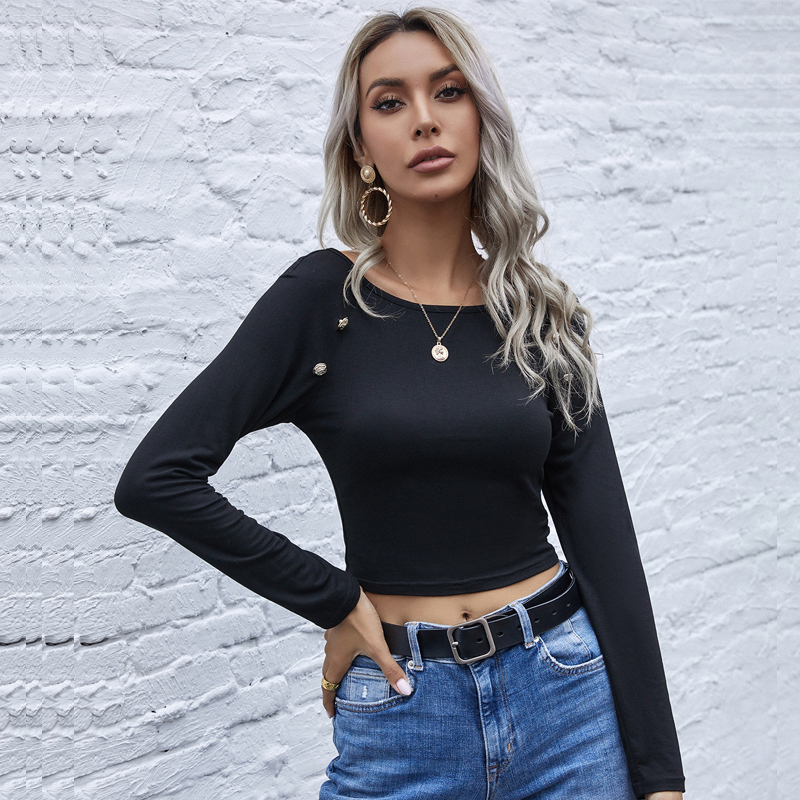 Купить женская футболка на пуговицах однотонная облегающая с длинным