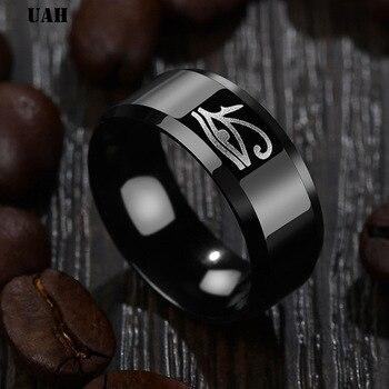 UAH Egyptian Eye of Horus Ra Udjat Amulet Ring Stainless Steel Ring Egypt Pharaoh King Motor Biker Mens Women Ring Wholesale