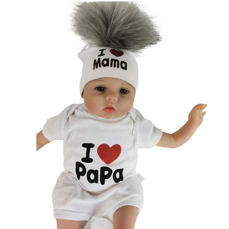 girl newborn cotton hats baby pom pom photo props i love mama papa children's kids hat  boy toddler girl cap bonnet infant hats