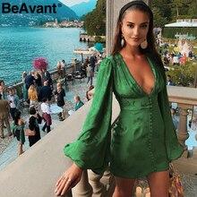 BeAvant 섹시한 v 넥 짧은 파티 드레스 그린 리본 우아한 드레스 여성 랜턴 슬리브 싱글 브레스트 a 라인 미니 드레스 여름