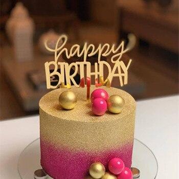 Adorno acrílico para Cupcake de feliz cumpleaños para niña, adorno acrílico para pastel de oro rosa, adornos de pastel de cumpleaños para niña, Baby Shower