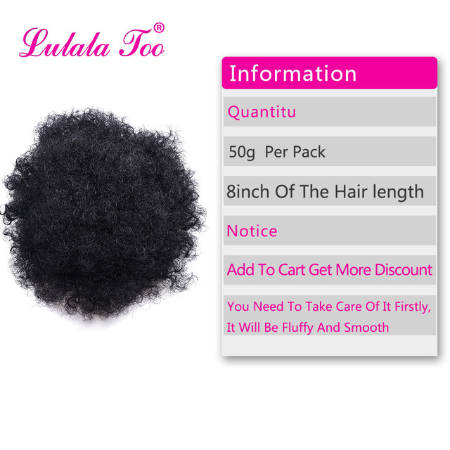 High Afro Puff Ponytail Drawstring Chignon Hairpiece Short Synthetic Kinky Curly Fake Hair Bun Updo Clip in Hair Extensions 2