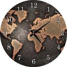 Wooden Wall Clock-World Map Large wall clock quartz 3D decorative kitchen clocks living room acrylic decor