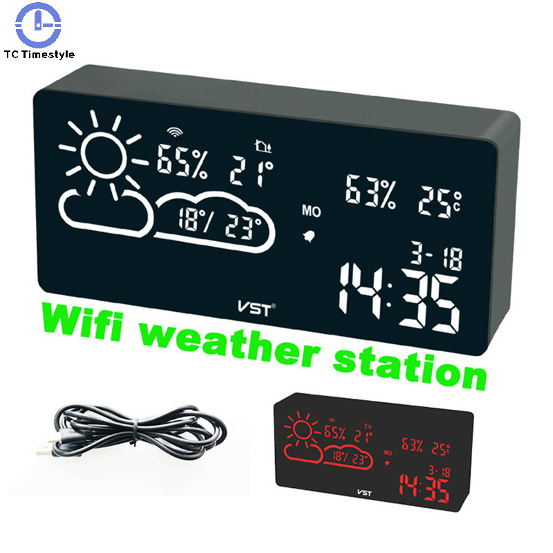 Alarm Clock Wifi World Time Weather Forecast Temperature And Humidity App Smart Wireless Connection Led Silent Snooze Electronic