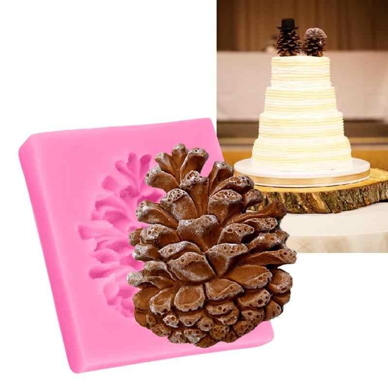 Natal Pine Kerucut Bentuk Kue Fondant Cetakan Permen Cokelat Silikon Cetakan Biskuit Cetakan Kue DIY Dekorasi Baking Alat