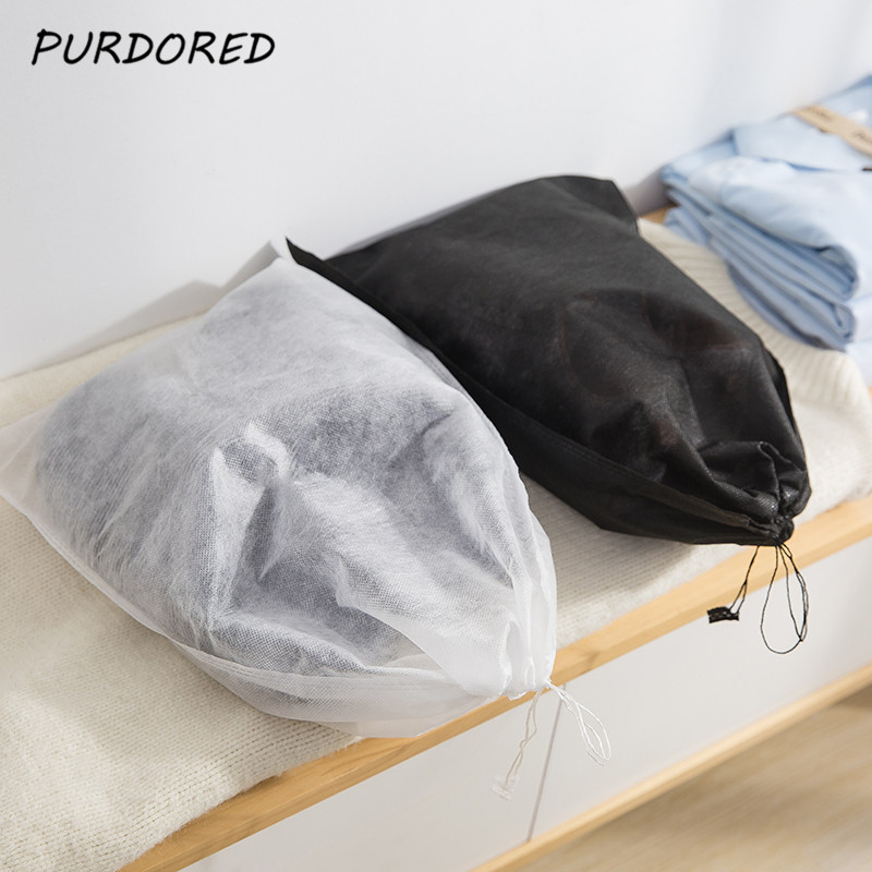 PURDORED 5 Pcs/set Non-Woven Shoes Bags Travel Shoes Storage Bag Outdoor Drawstring Bag Travel Organizer Pocket Pouch Cloth Bags