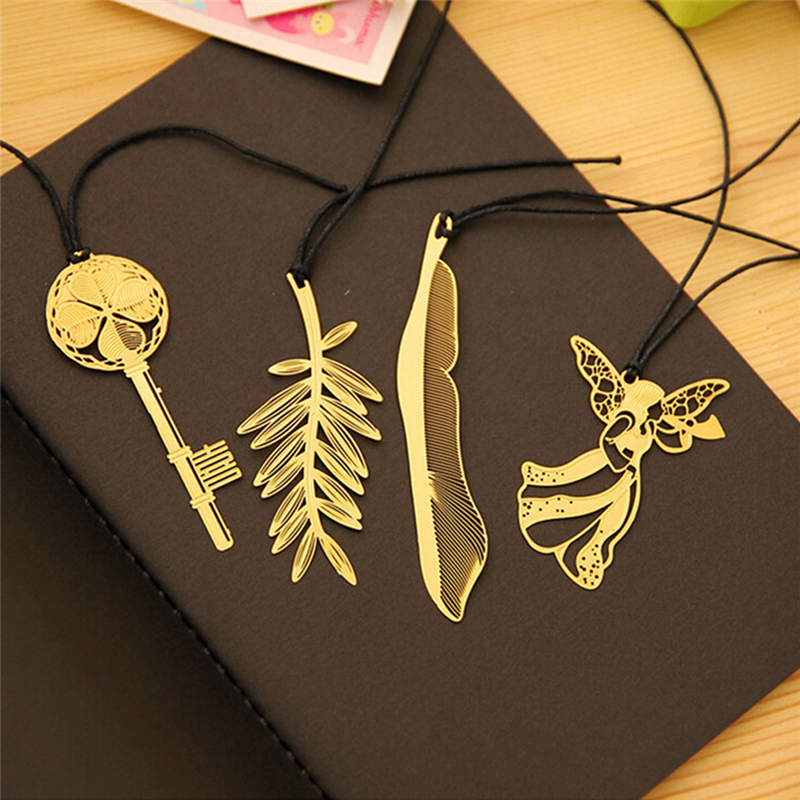 Mini Cute Kawaii Gold Metal 4PCS Bookmark Paper Clip Antique Plated Butterfly Dragonfly Bookmarks Korean Statioenry