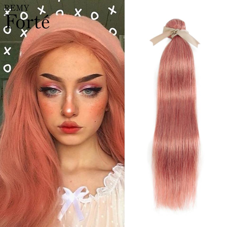 Remy Forte Straight Hair Bundles Blonde Brazilian Weave Orange Human  1/3/4