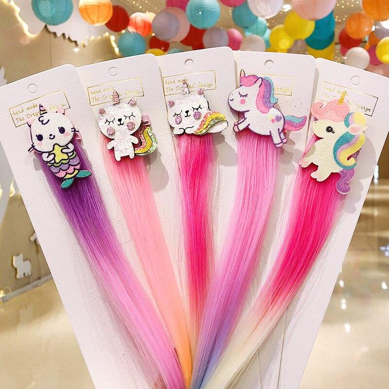 New Girls Cute Cartoon Unicorn Colorful Braid Headbands Hair Clips Sweet Hair Ornament Hairpins Kids Fashion Hair Accessories