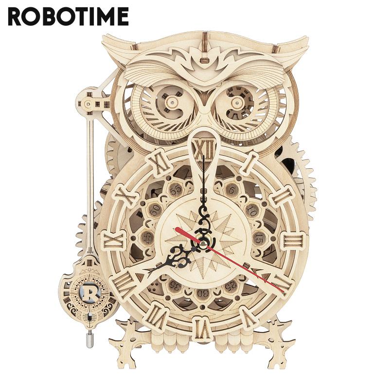 Robotime Rokr 161pcs Creative DIY 3D Owl Clock Wooden Model Building Block Kits Assembly Toy Gift for Children Adult LK503