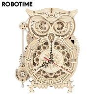Robotime-Reloj de madera de búho 3D Rokr para niños y adultos, 161 Uds., bloques de construcción en miniatura, Kits de montaje, juguete para regalo