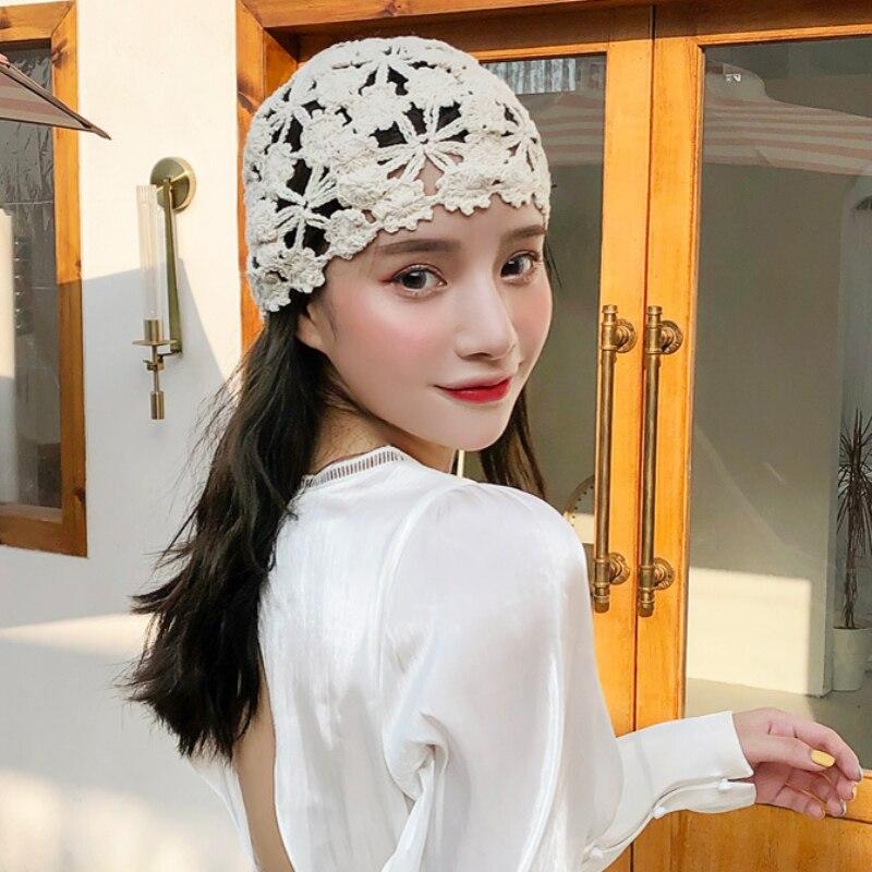 Chapéu das Senhoras do Vintage Chapéu Feminino Primavera Verão Crochê Flor Skullies Beanie Gorro Retro Beanies Ht3167
