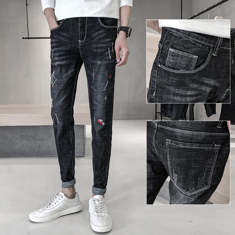 Spring New Style Youth Men's Jeans Men's Black Embroidery Jeans Men Korean-style Slim Fit Skinny Pants Fashion