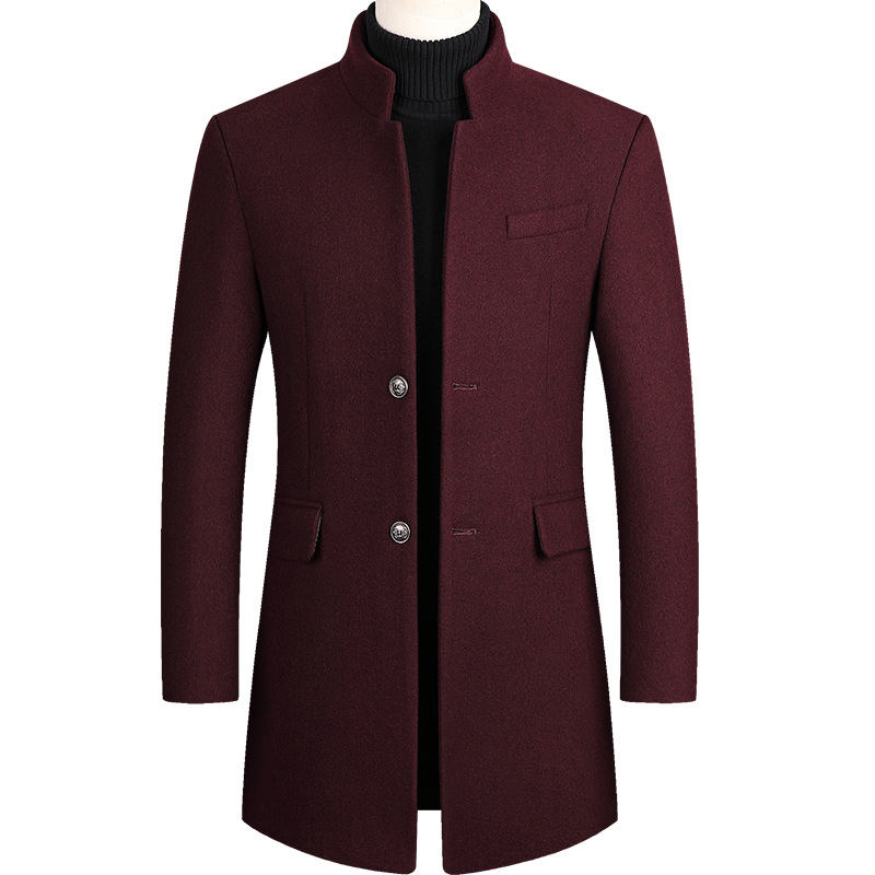 Mens Overcoat Boys Winter Wine Red Coat Plus Size Woolen Blend Coat Long Male Windbreaker Cotton Thick Warm Topcoat Men Jacket