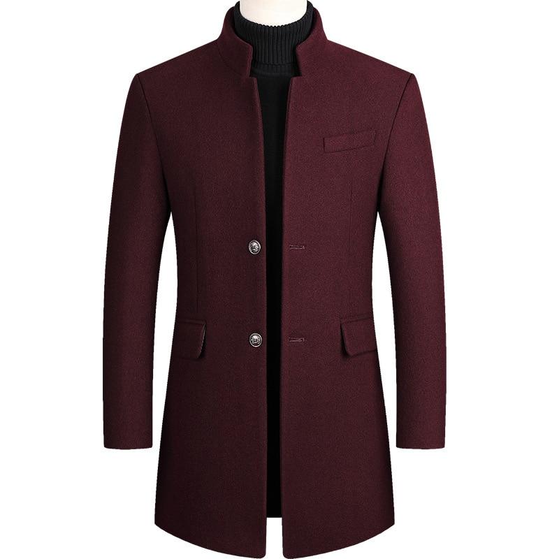 Mens Overcoat Boys Winter Wine Red Coat Plus Size Woolen Blend Coat Long Male Windbreaker Cotton Thick Warm Topcoat Men Jacket