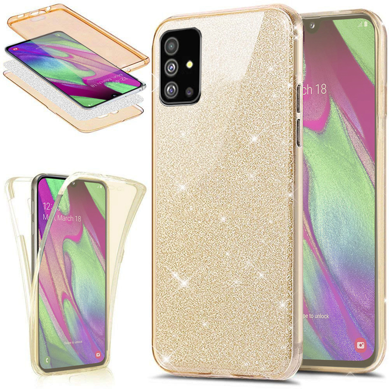 360 Full Protection Glitter Silicone Case For Coque Samsung Galaxy S20 S8 S9 S10 Plus S10 Note 10 Lite A70 A50 A51 A41 A01 Funda