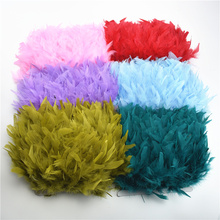 10Meters Fluffy Colorful Turkey Feathers Fringe Trim Feather for Crafts Ribbon Plume Decoration Decor Diy