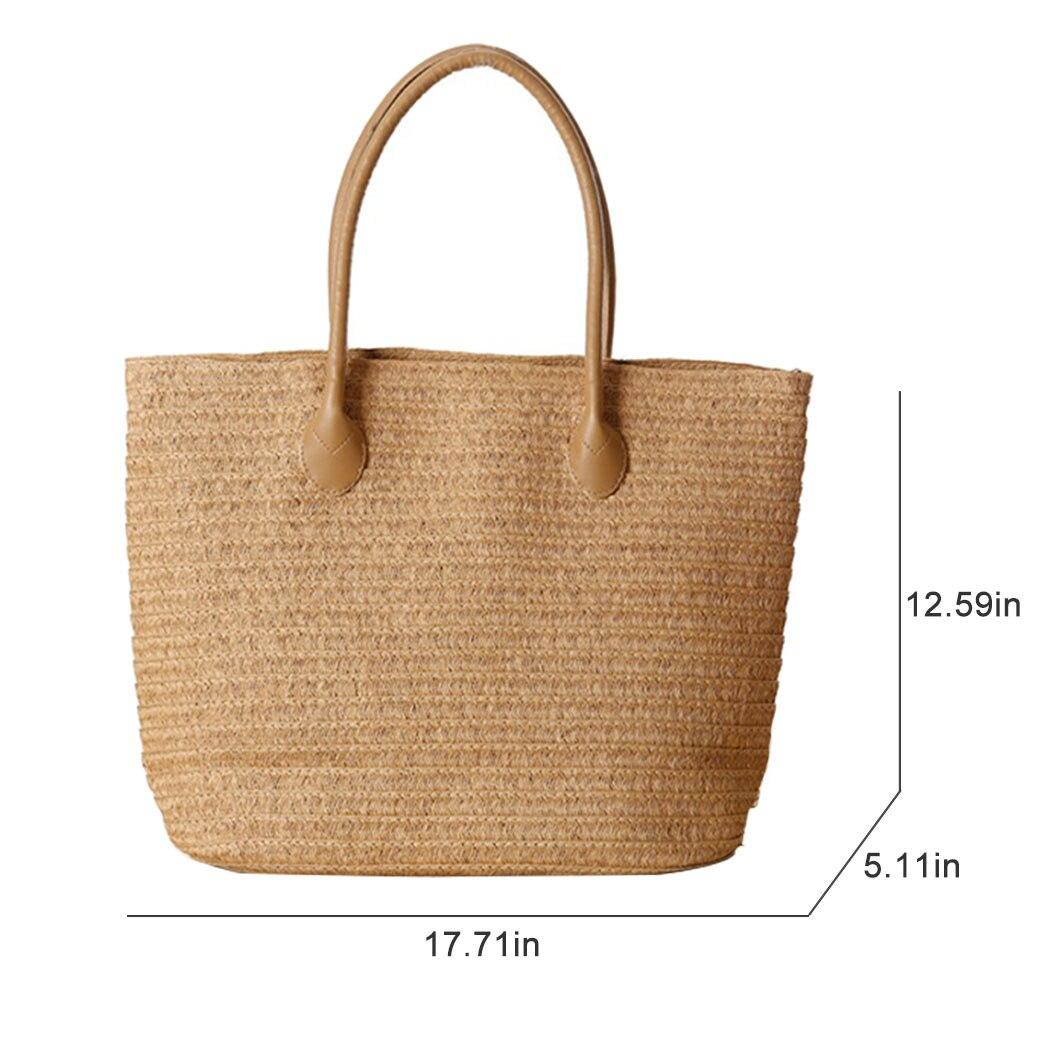 Women Handbag Summer Beach Bag Rattan Woven Handmade Knitted Straw Large Capacity Totes Women Shoulder Bag Bohemia 2019 New 1