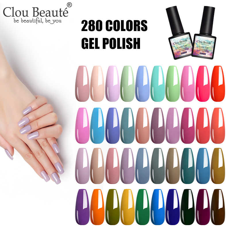 Clou Beaute 8 Ml Uv Gel Nail Polish Warna Kuku Gel Rendam Off UV Hybrid Gel Lacquer Rendam Off tahan Lama Nail Art Gel Varnish