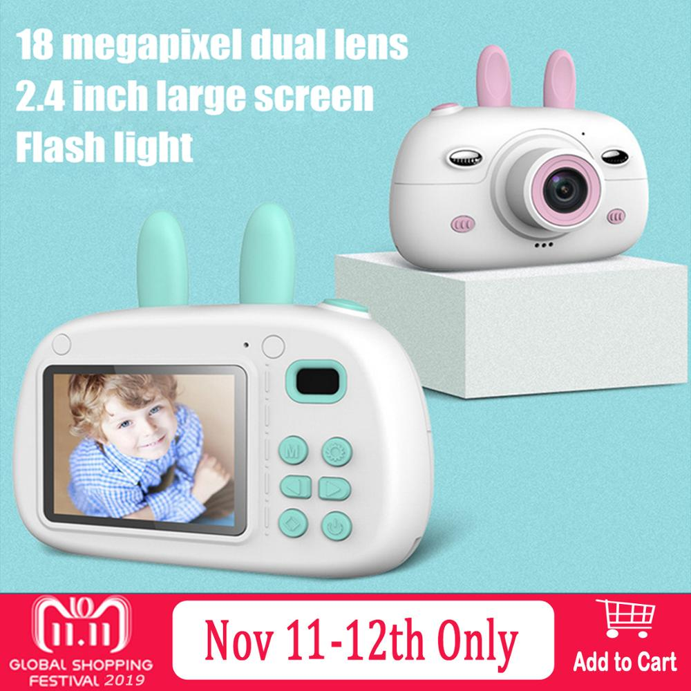 Kids Mini Cartoon Rabbit 1800W HD Digital Camera Electronic Photo Video Photography Camcorder Camera Toys With 16G Memory Card