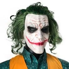 Joker Masker Movie Batman The Dark Knight Horror Clown Cosplay Latex Maskers Met Groen Haar Pruik Scary Halloween Party Kostuum props