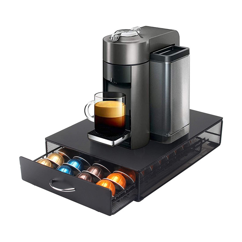 40 Cups Coffee Nespresso Capsule Drawer Holder Coffee Pod Storage Rack Stainless Steel Vertuo line Stand Organization
